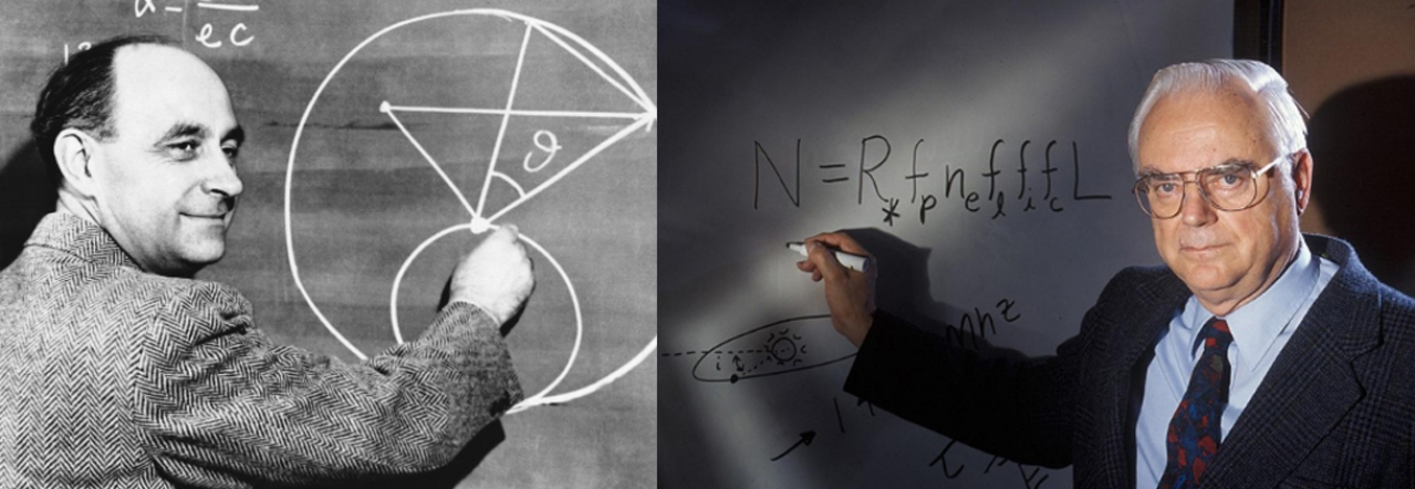 Enrico Fermi (L) and Frank Drake (R) with their equations for the possibility of extraterrestrial intelligence.