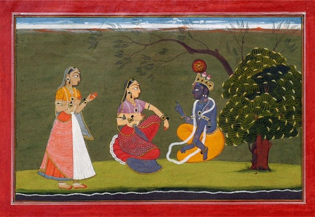 Basohli painting (c1730) depicting a scene from Jayadeva's <i>Gita Govinda</i>