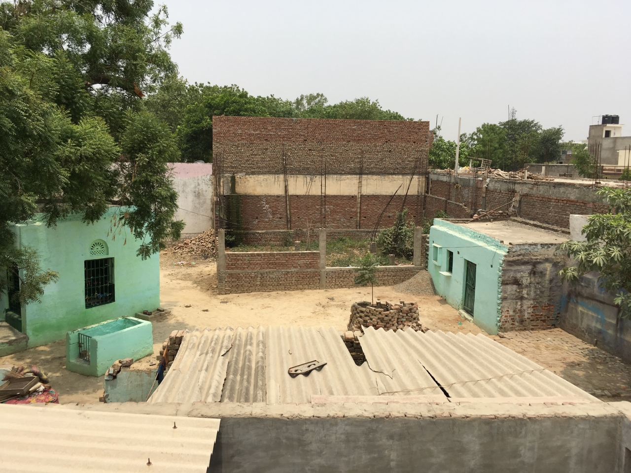 View of the dargah and under-construction mosque from a terrace