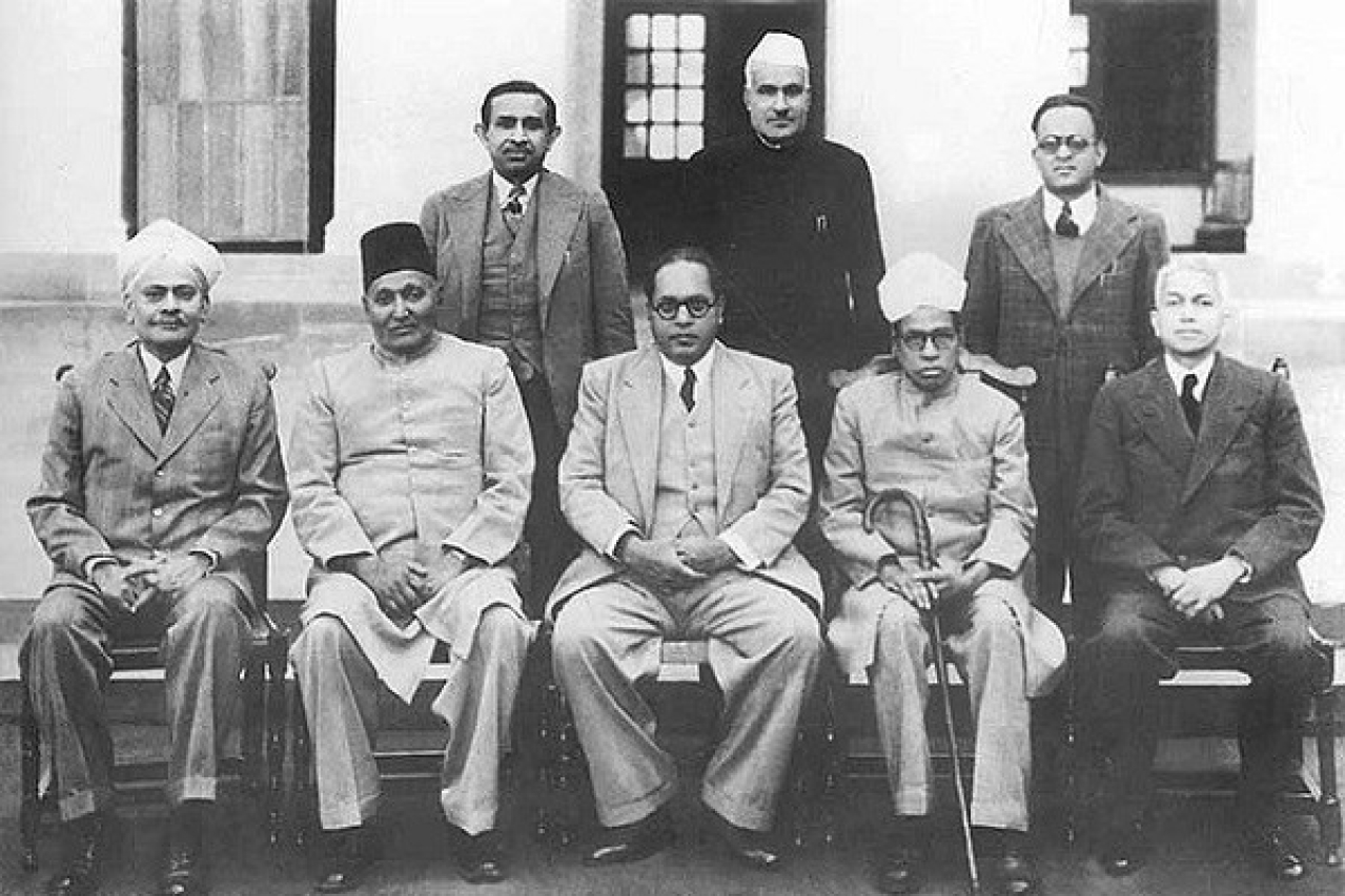 Indian Constitution Drafting Committee chairman Dr Babasaheb Ambedkar  with other members on 29 August 1947.