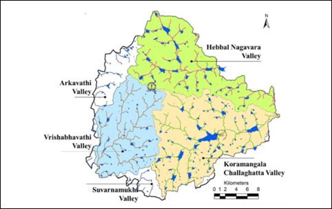 Figure 1: Interconnected lake systems along the major valleys of Bengaluru