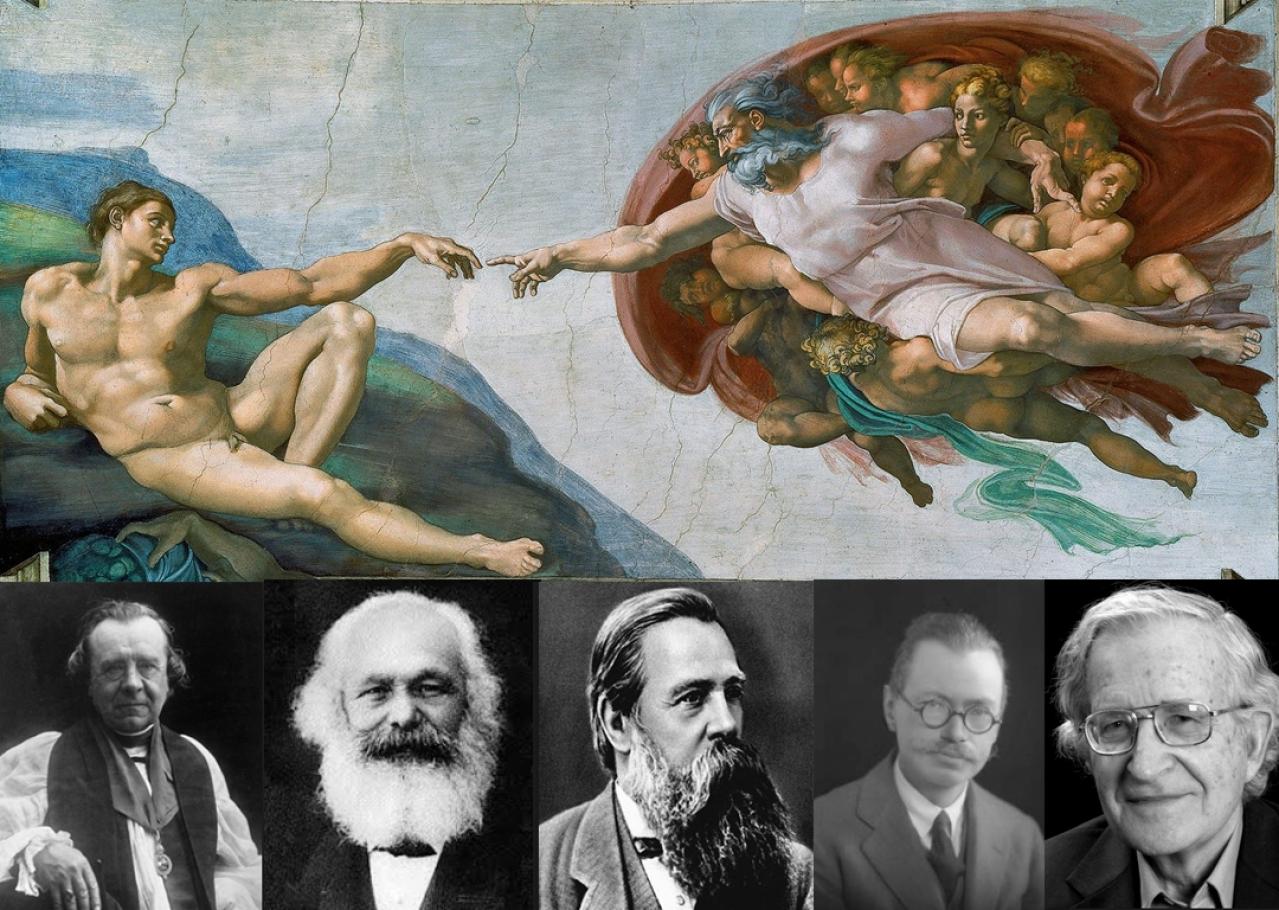 Anti-Darwinians emphasising human uniqueness: Bishop Wilberforce, Karl Marx, Friedrich Engels, archaeologist Gordon Childe and linguist Noam Chomsky.