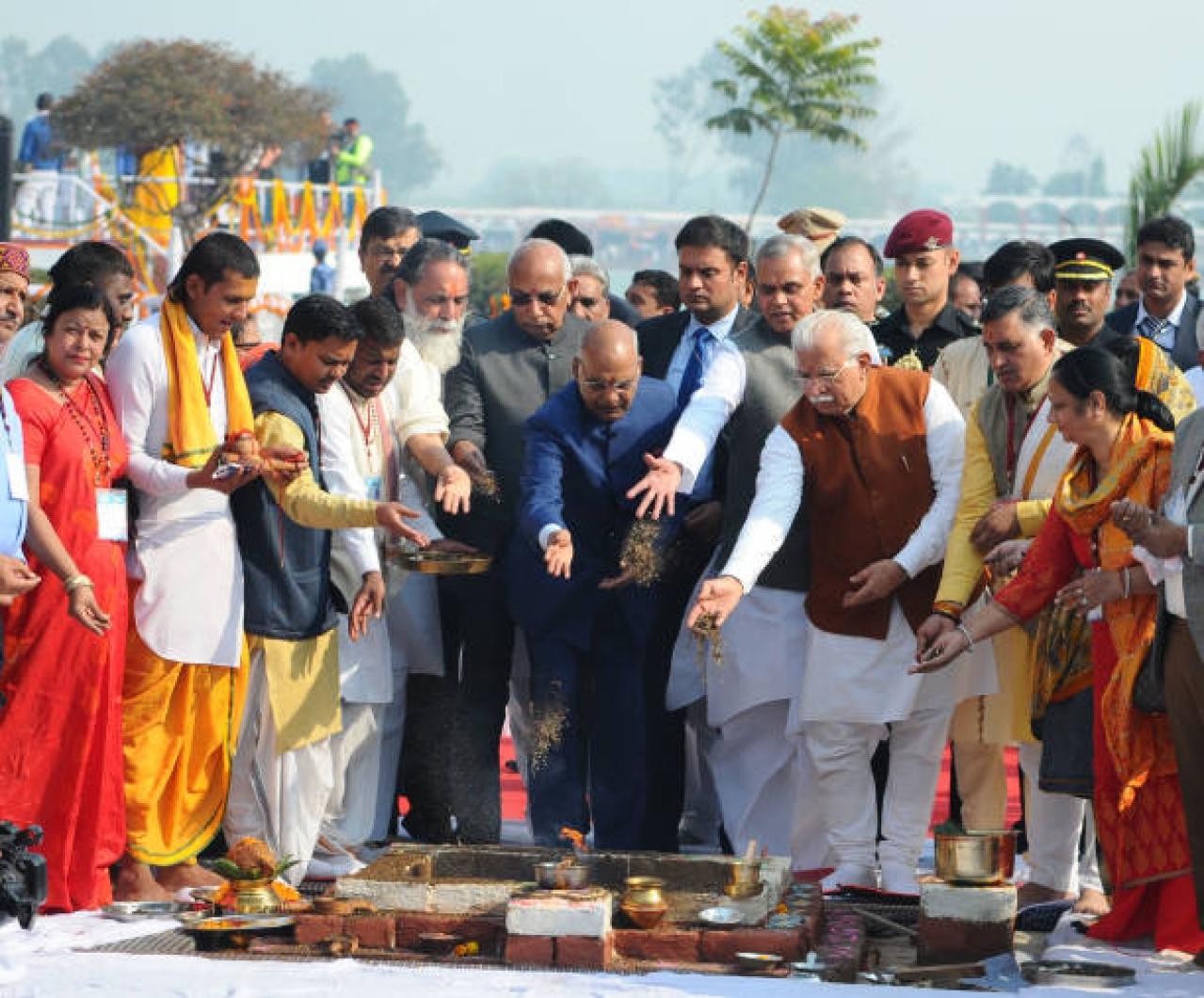 President Ram Nath Kovind, centre, with Governor Haryana Kaptan Singh Solanki, Chief Minister Manohar Lal Khattar and Himachal Pradesh Governor Acharya Dev Vrat during Gita Mahotsav 2017.