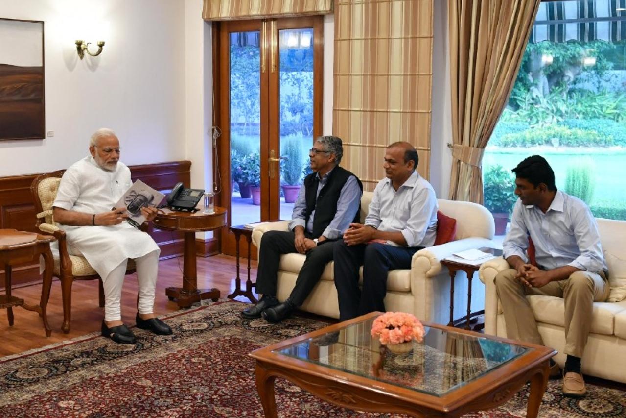 Prime Minister Narendra Modi with Swarajya's Editorial Director R Jagannathan, CEO Prasanna Viswanathan and Publisher Amar Govindarajan.