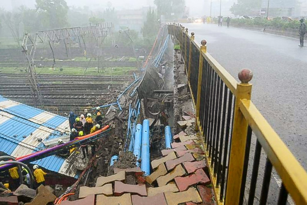 Part of the Gokhale bridge, connecting Andheri East to Andheri West in Mumbai, collapsed on 3 July.