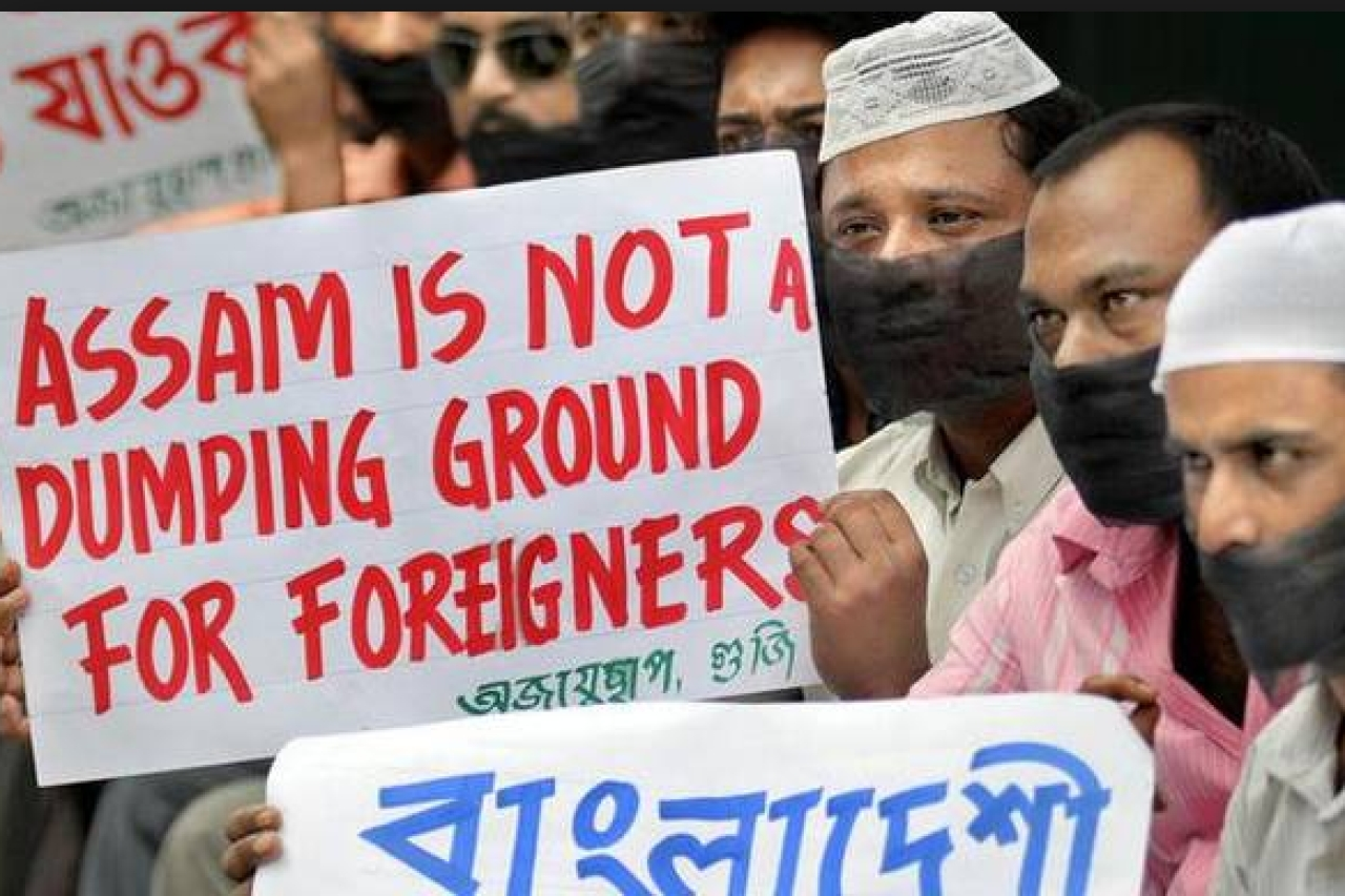 People in Assam protest against the settlement of illegal immigrants in the state. (Daily Sokal)