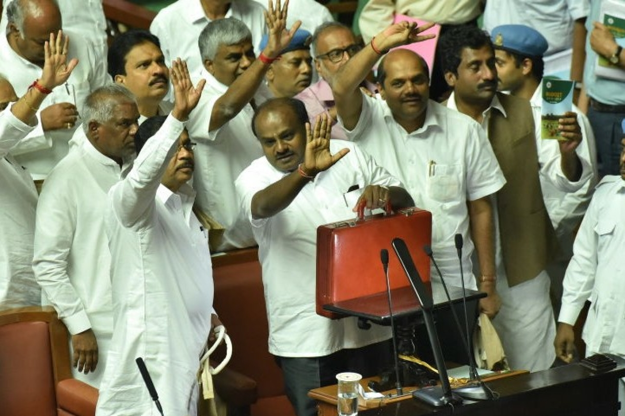Karnataka Chief Minister H D Kumaraswamy after presenting state budget in Vidhan Soudha in Bengaluru. (Arijit Sen/Hindustan Times via GettyImages)