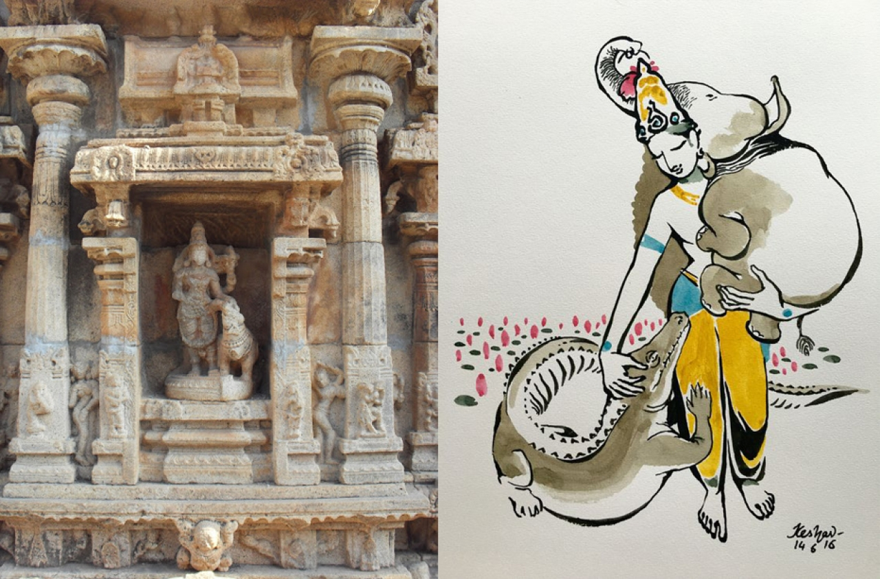 That non-humans also have the right to divine grace and connection is not just belief, but a conviction in Hinduism. Visual at right depicts the story of Gajendra Moksa.