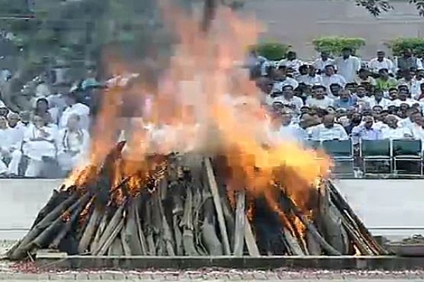 Amidst Chanting Of Vedic Hymns, Vajpayee's Foster Daughter Lights His Funeral Pyre
