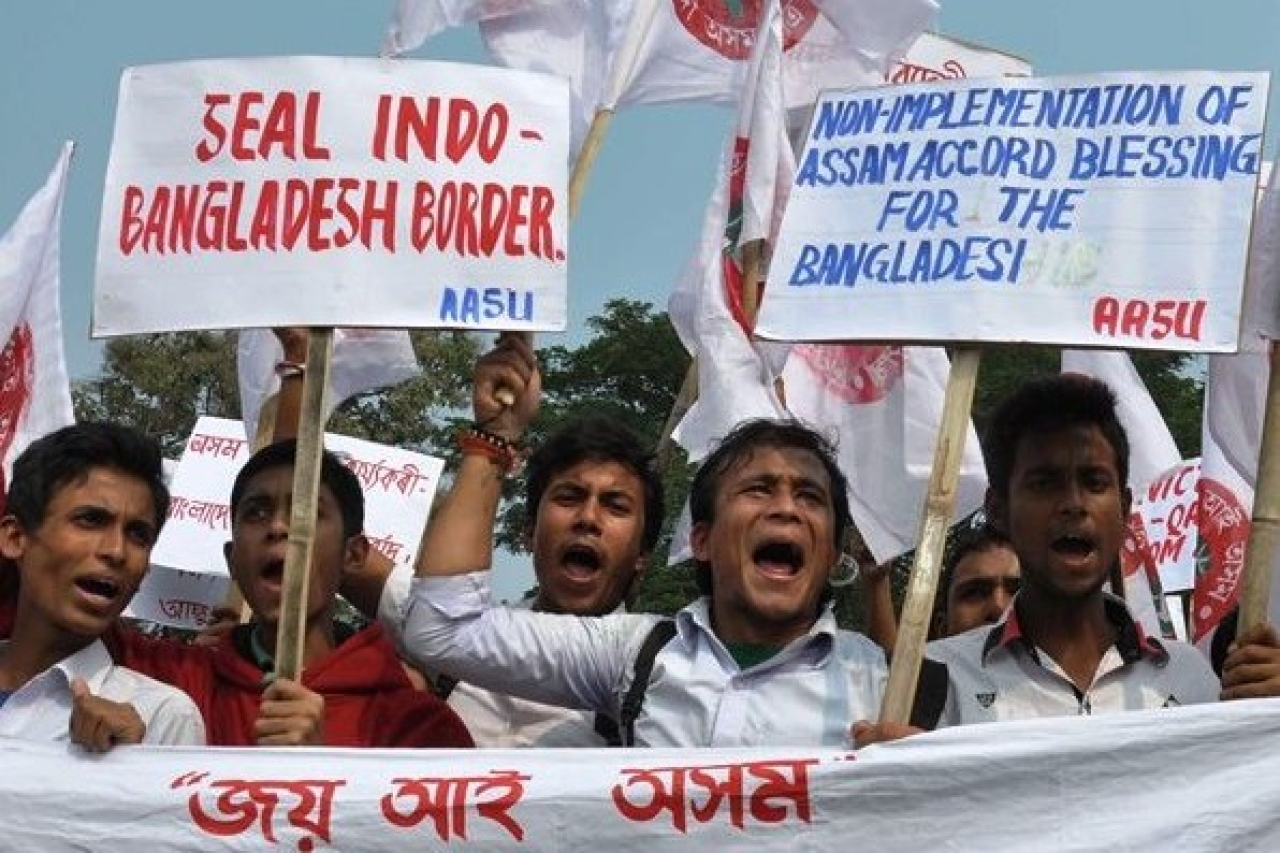 Members of a student union take part in a demonstration against illegal immigrants from Bangladesh. (time8.in)