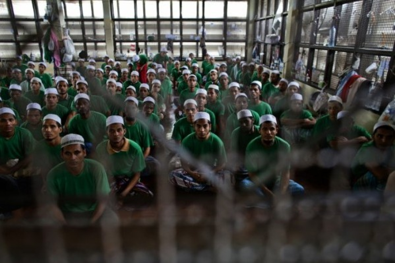 Illegal Rohingya immigrants at an immigration detention centre.