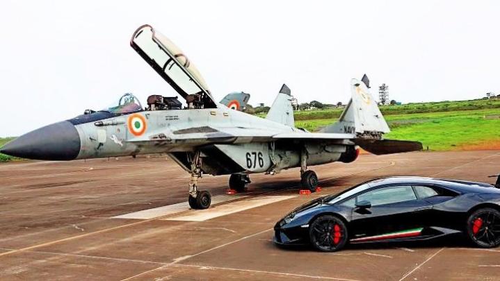 Watch: Indian Navy's MiG 29K Fighter Jet Racing A Lamborghini Huracan