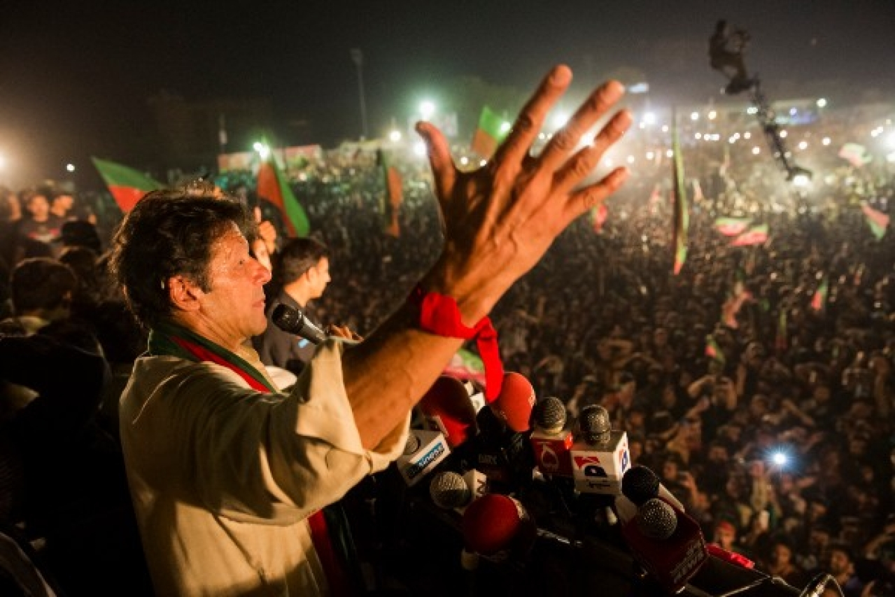 Imran Khan addressing supporters during an election campaign rally in 2013. (Daniel Berehulak/Getty Images)
