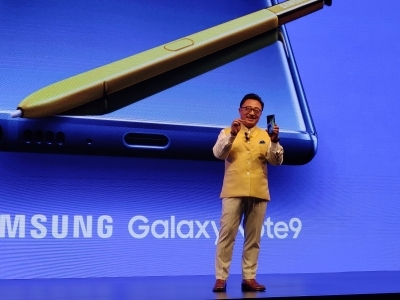 Gurugram DJ Koh,President Samsung Mobile & IT Business and CEO addresses at the launch of Samsung Galaxy Note 9 in Gurugram on Aug 22 2018