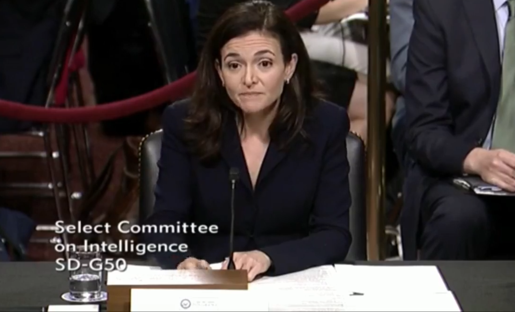 Facebook COO Sheryl Sandberg at the US Senate Intelligence Committee hearing