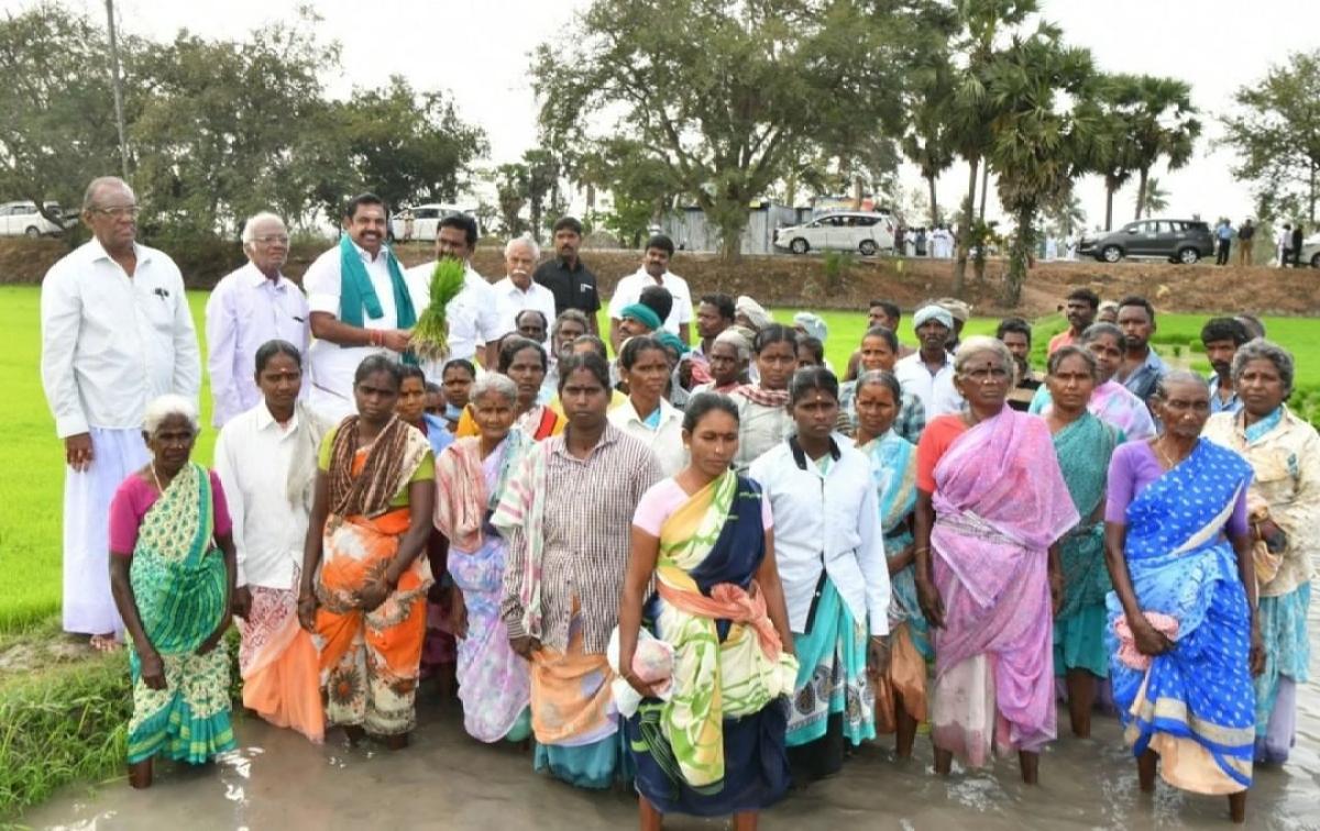 धान रोपाई के बाद मुख्यमंत्री ने किसानों के साथ मिलकर तस्वीरें भी खींचवाई.
