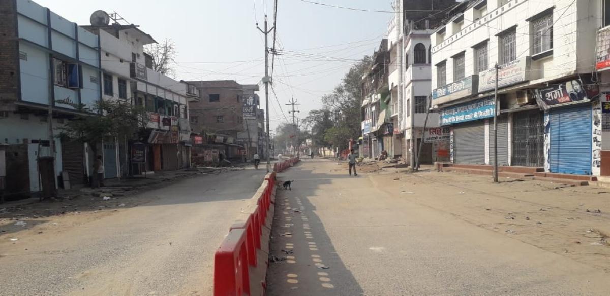 जनता कर्फ्यू के दौरान गोपालगंज मुख्यालय की सड़क पर पसरा सन्नाटा