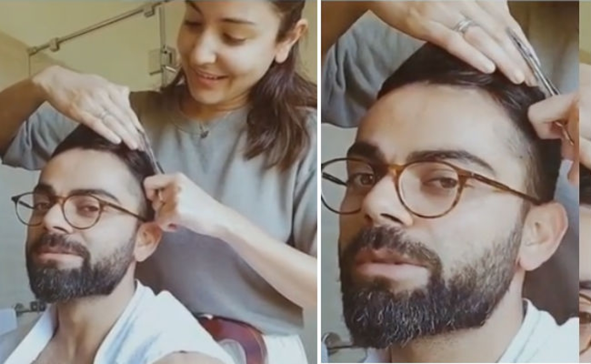 Virat Kohli की हेयर कटिंग कर रहीं हैं पत्नी Anushka Sharma, वायरल हो रहा ये VIDEO