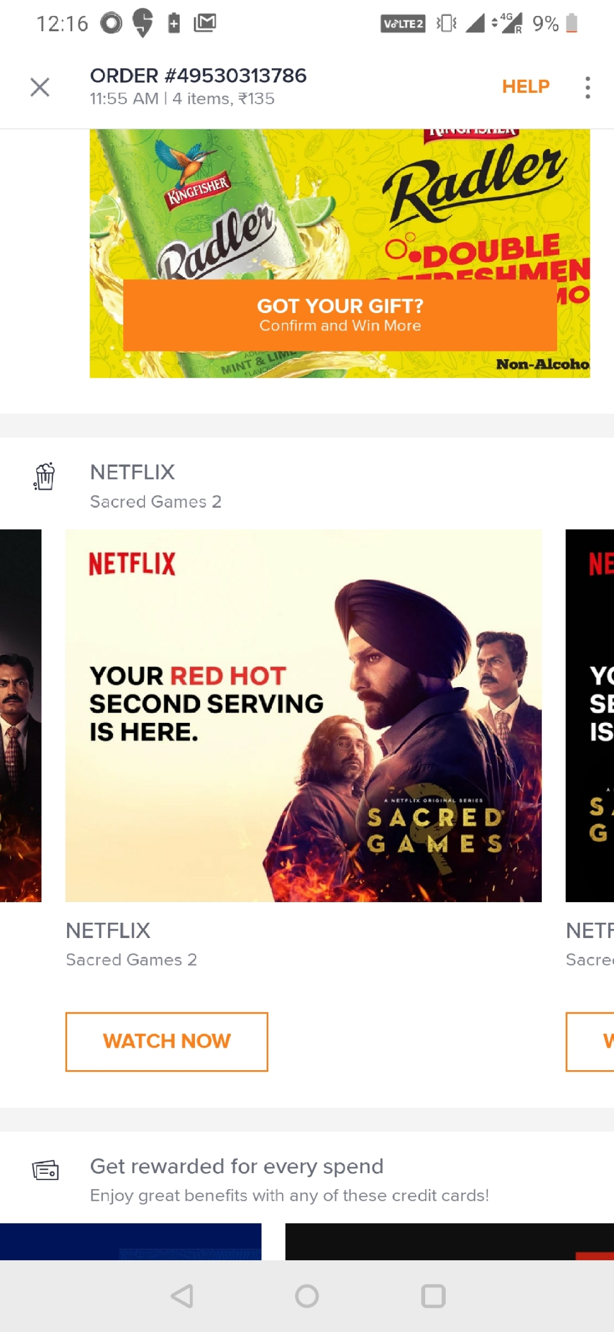 An ad for Netflix's Sacred Games on Swiggy