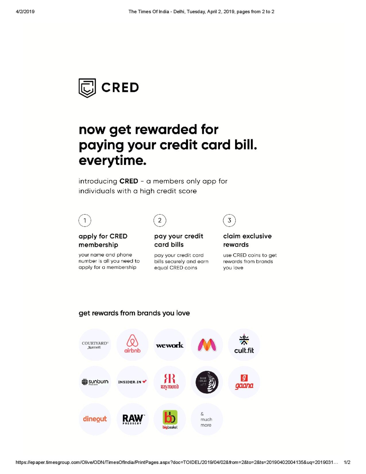 Cred's full page ad in TOI