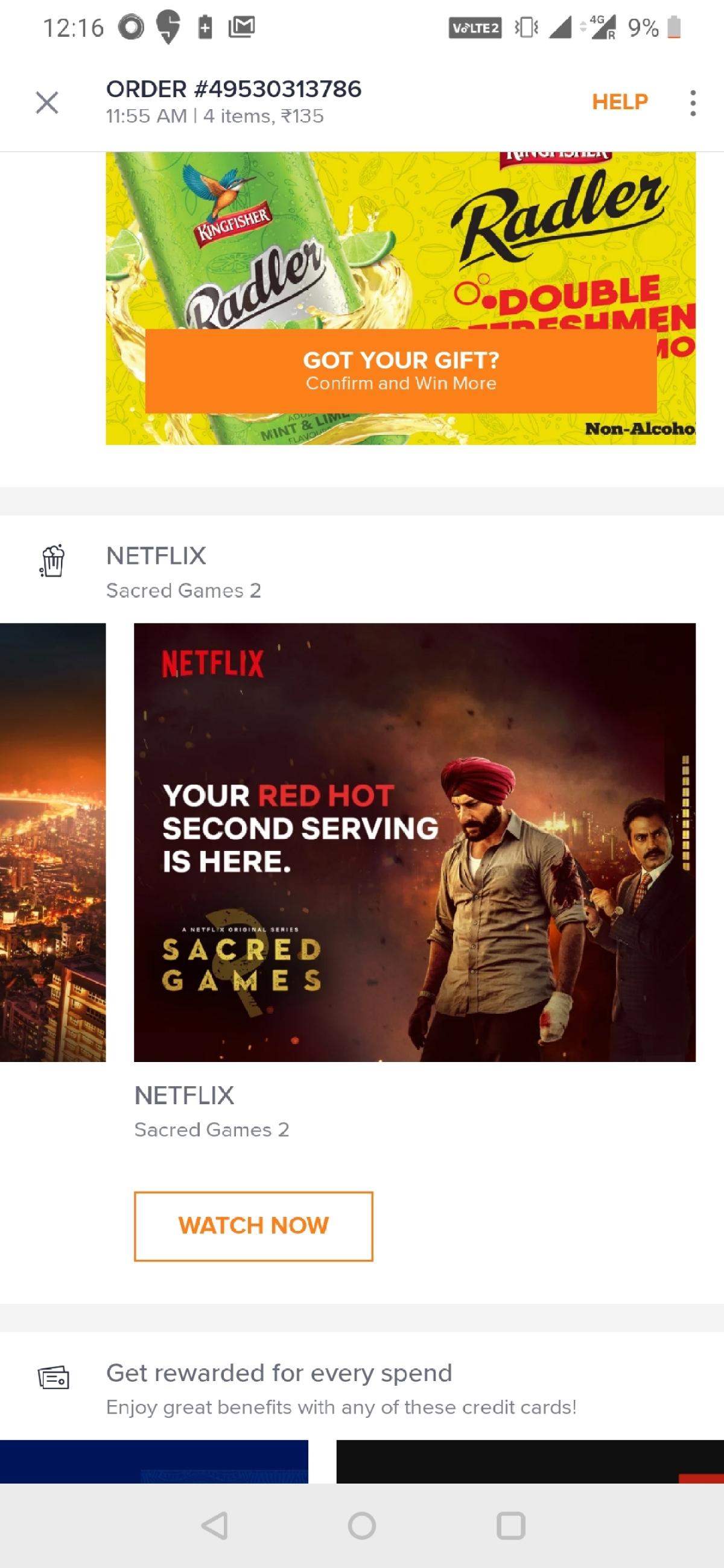 Swiggy displays Netflix's ad for Sacred Games