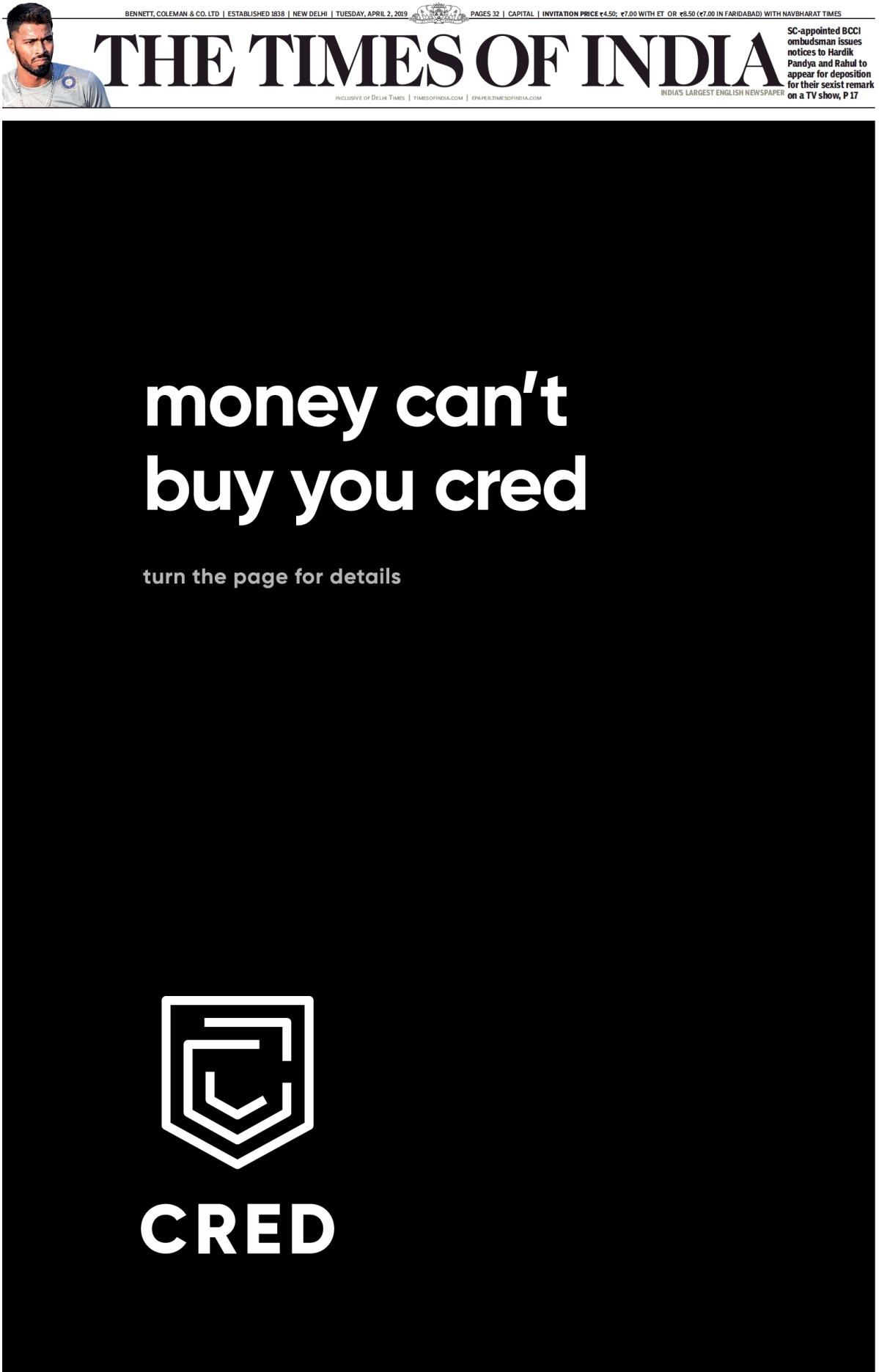 Cred's full page ad on Times of India