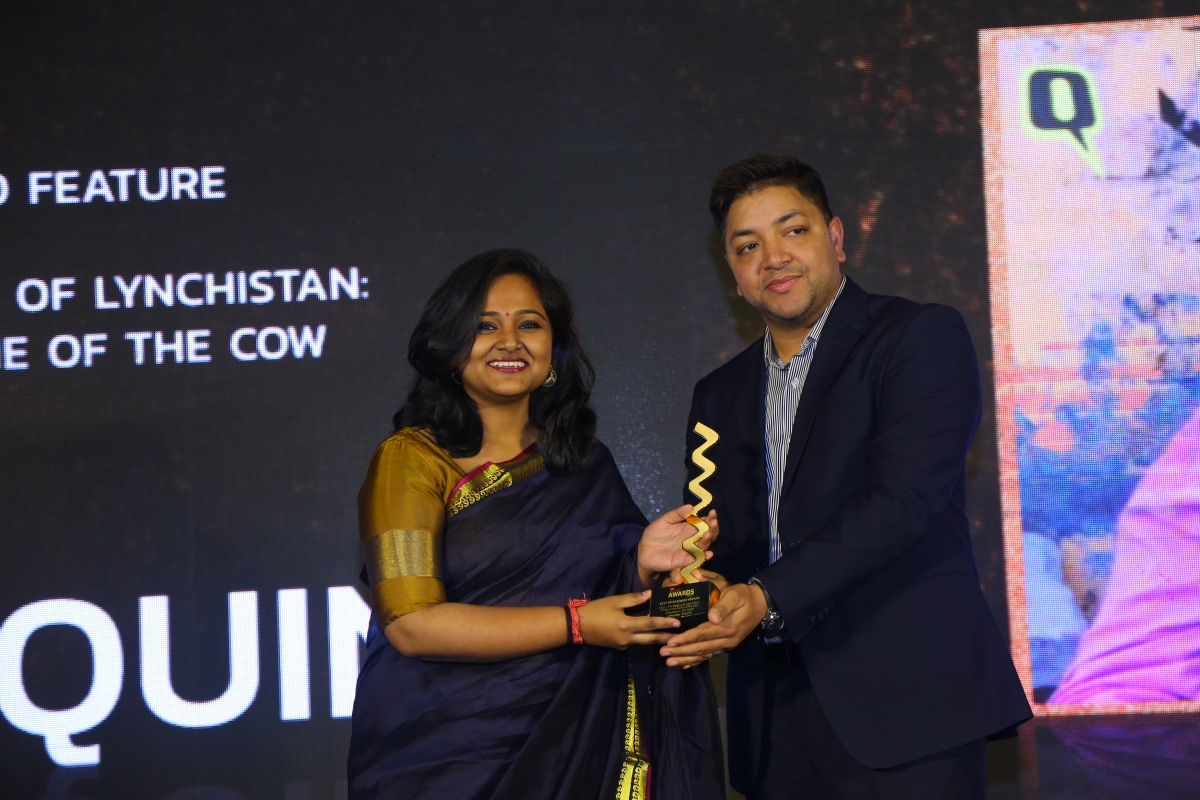 The Quint receiving Gold in the 'Best Article/Video Feature' category
