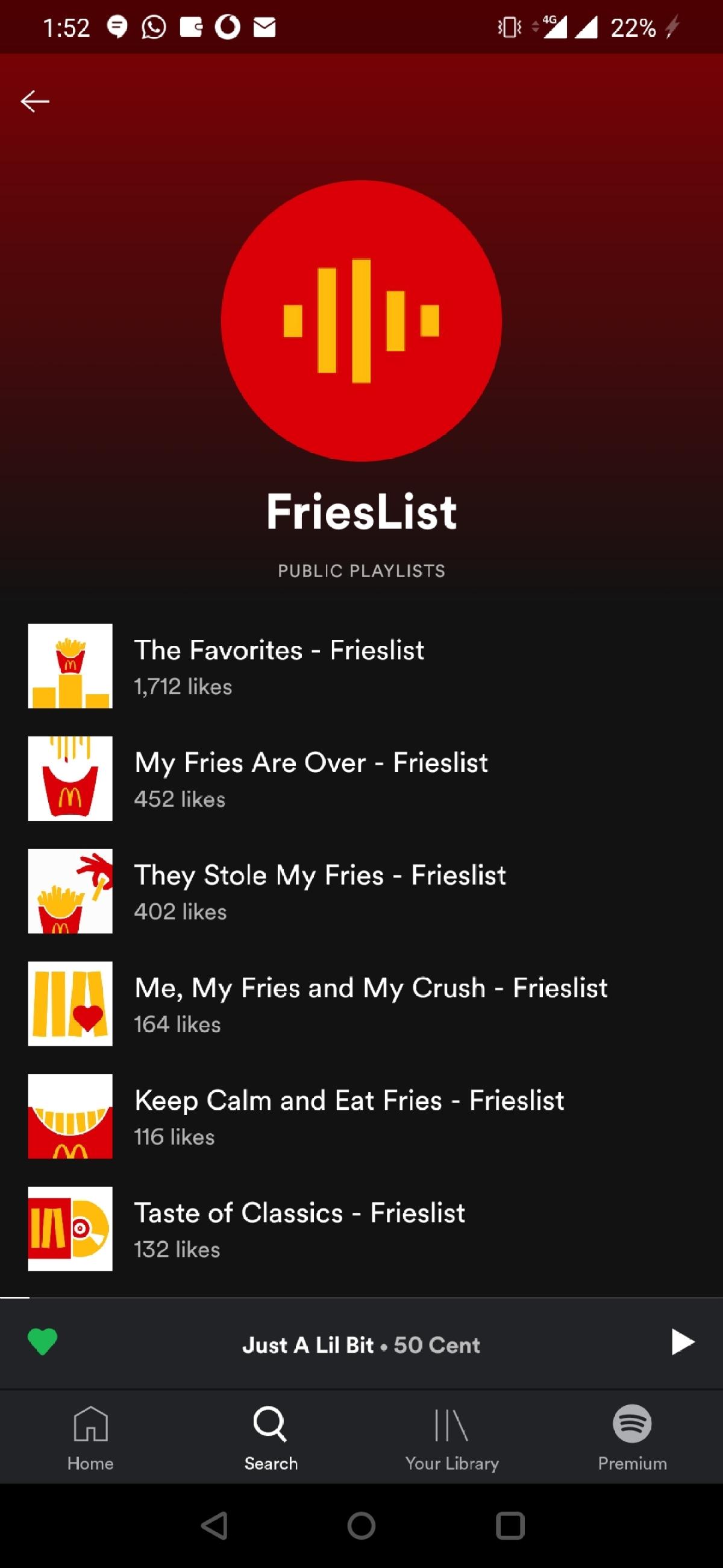 Spotify's 'fries' themed playlists