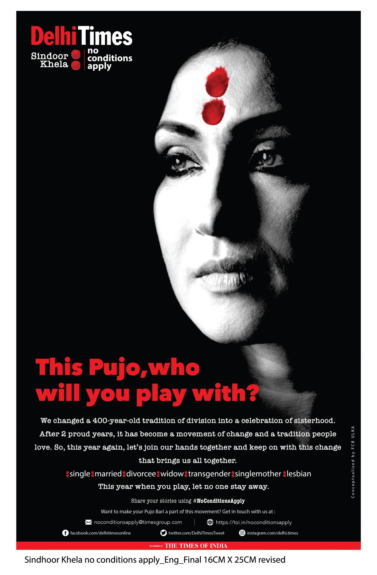 TOI brings back 3rd edition of its award-winning #NoConditionsApply – Sindoor Khela campaign