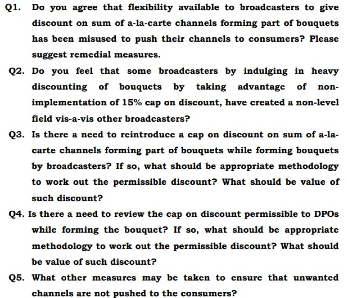 A set of questions raised by TRAI