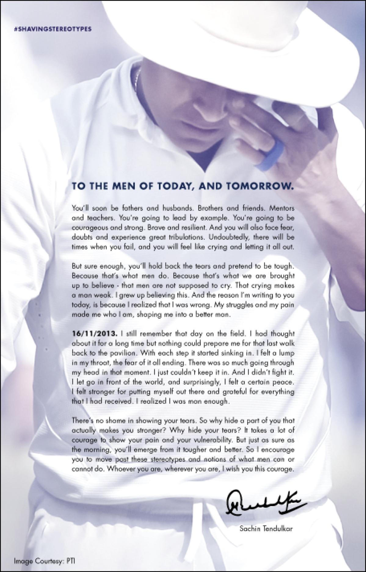 Sachin Tendulkar's open letter to young boys and men.