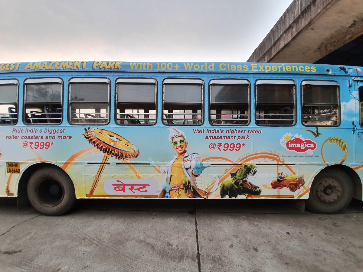 Imagica's ads on buses in Mumbai