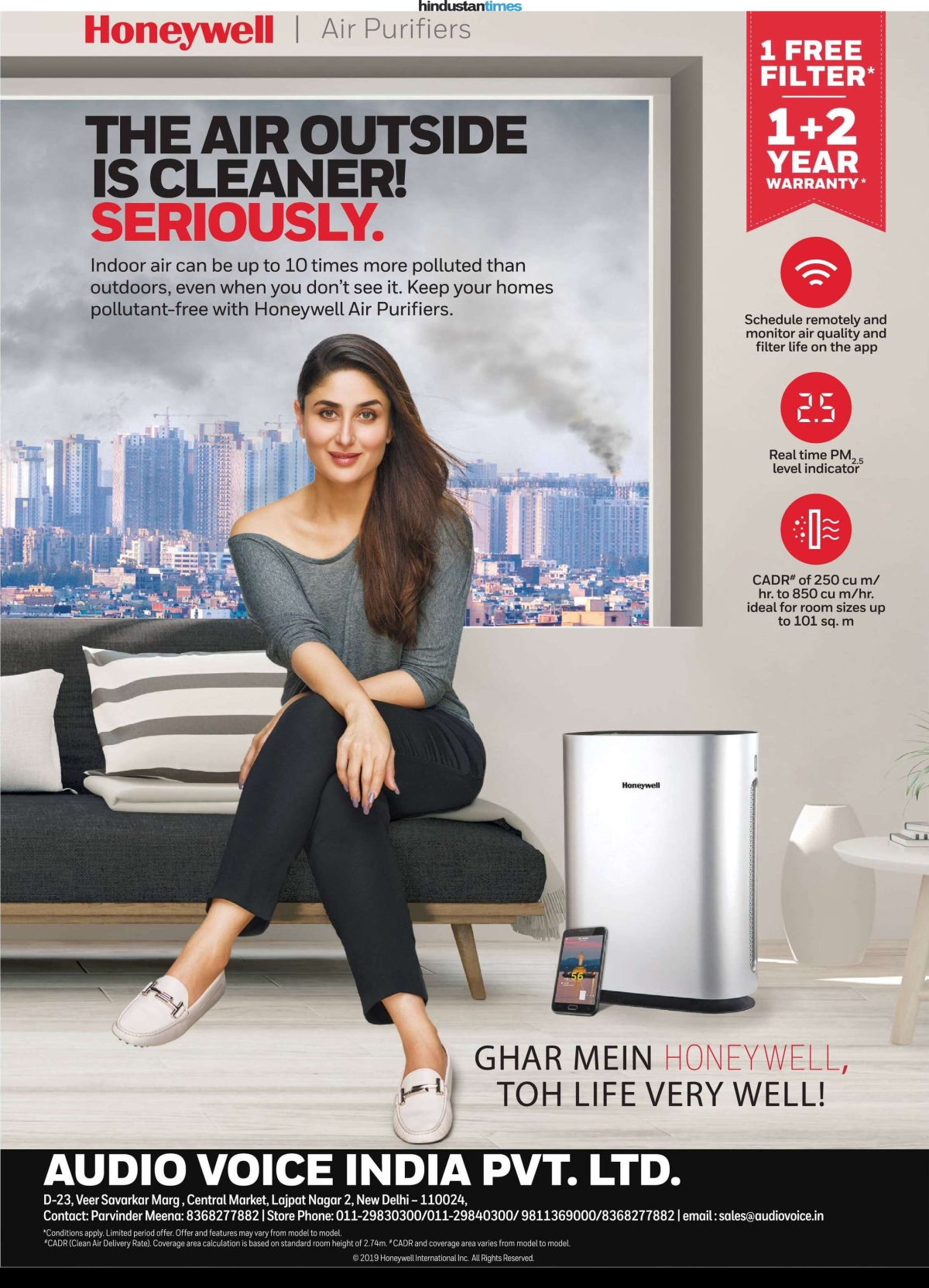 Honeywell air purifier's full page ad in HT City, South Delhi edition