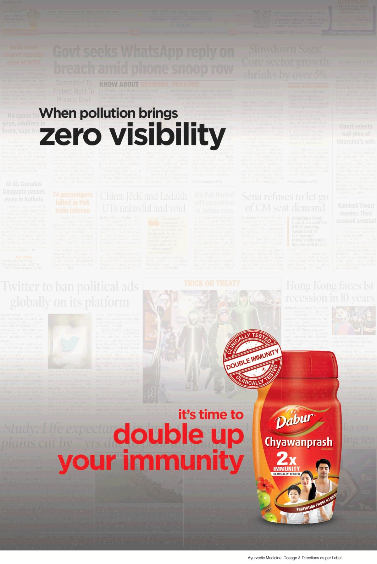 Dabur's full page ad in the Times of India