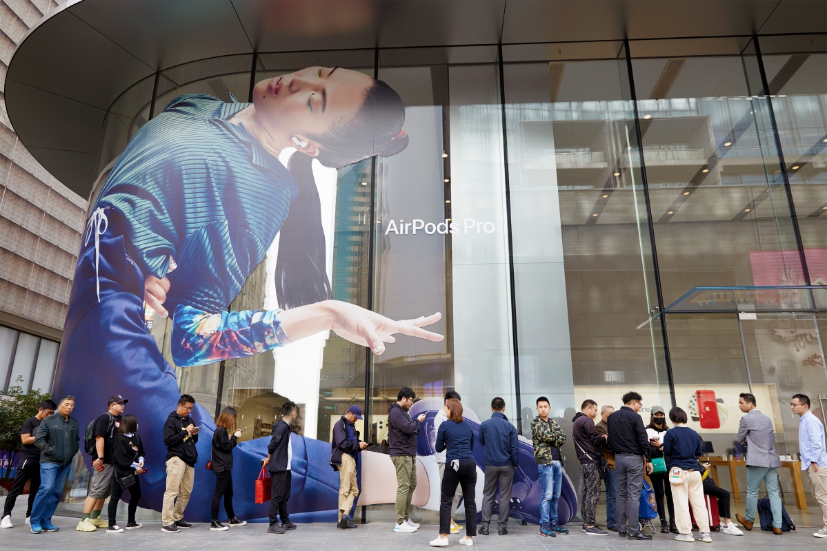 An Apple store front in Shanghai