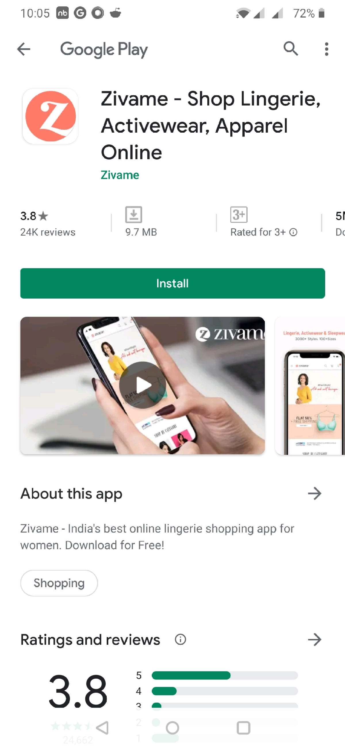Using the shop now option takes a user to the play store to download the app