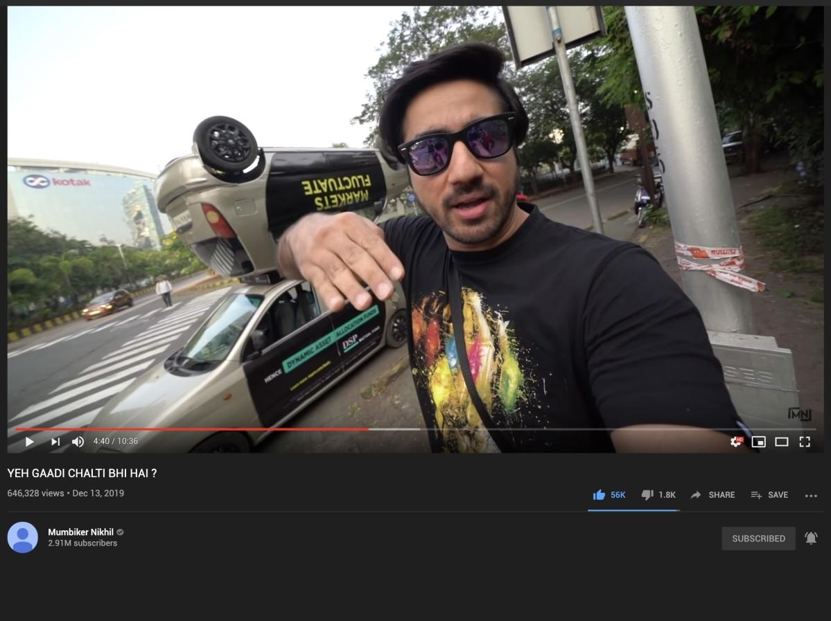 A still from Mumbiker Nikhil's YouTube Vlog