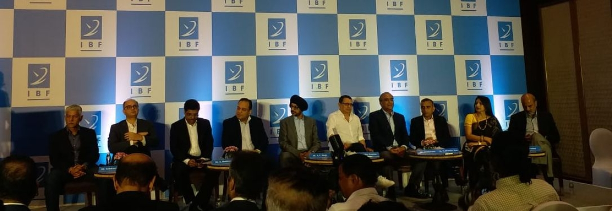 On the dias (L-R) Sidharth Jain, Punit Misra, K Madhavan, Punit Goenka, NP Singh, Uday Shankar, Aroon Purie, Sudhanshu Vats, Megha Tata, I Venkat
