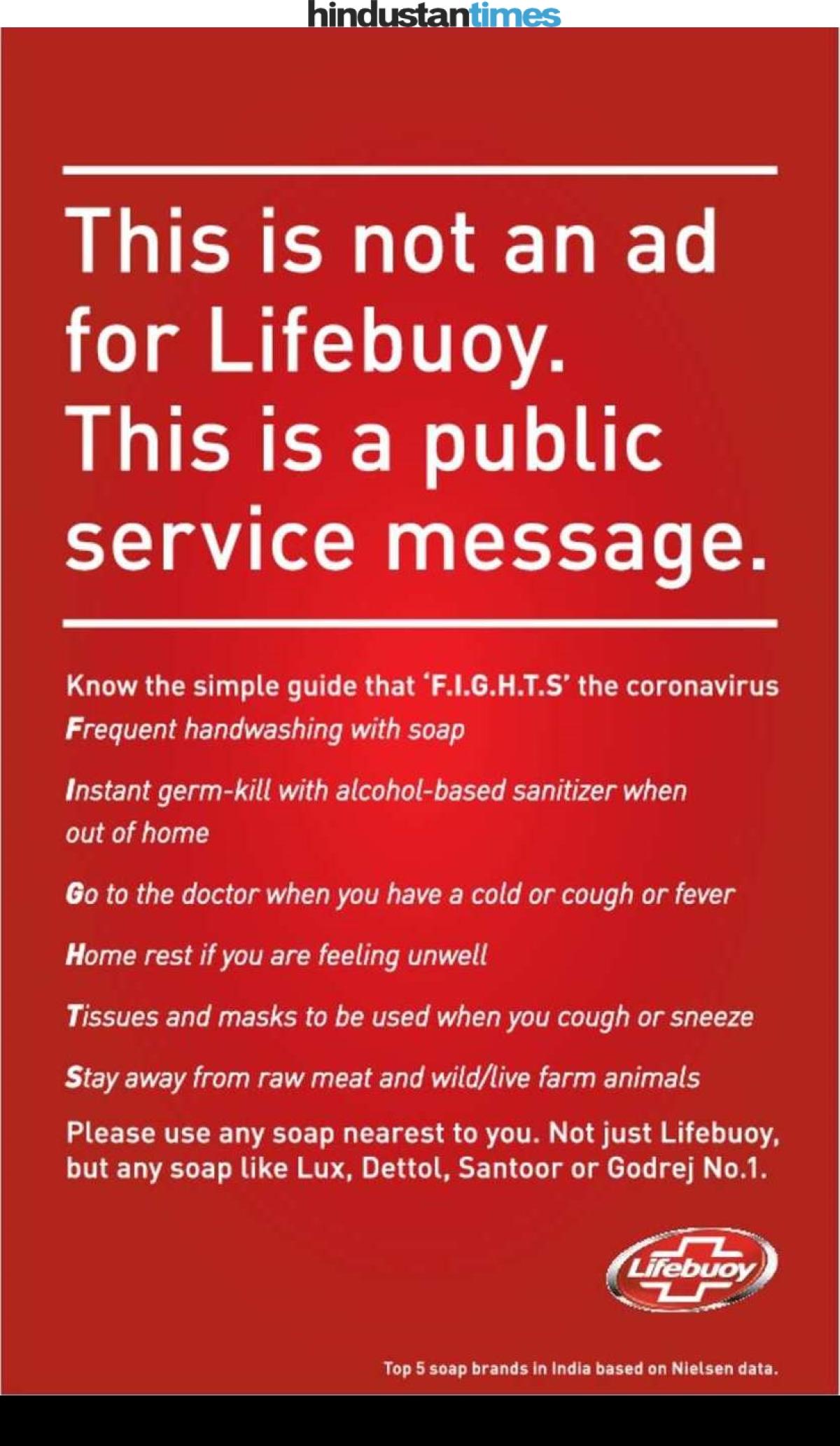 Lifebuoy's print ad in Hindustan Times