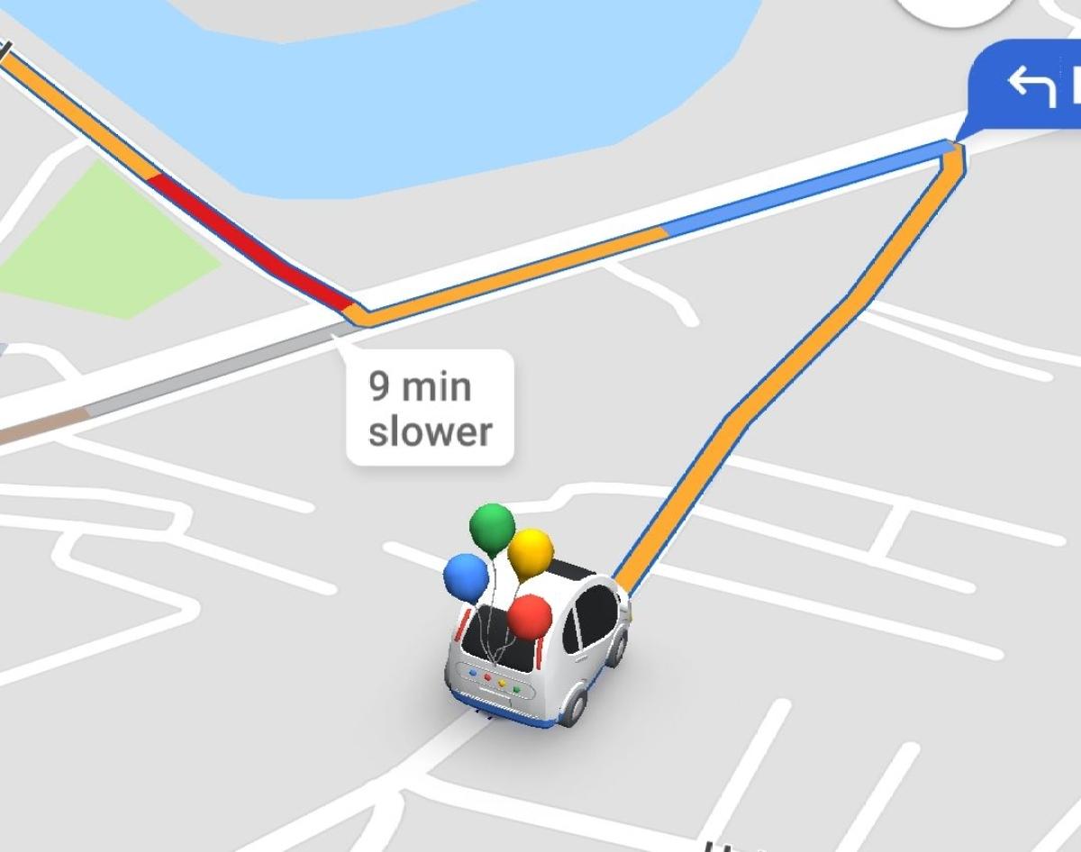 A glimpse of Google Maps' celebratory UI