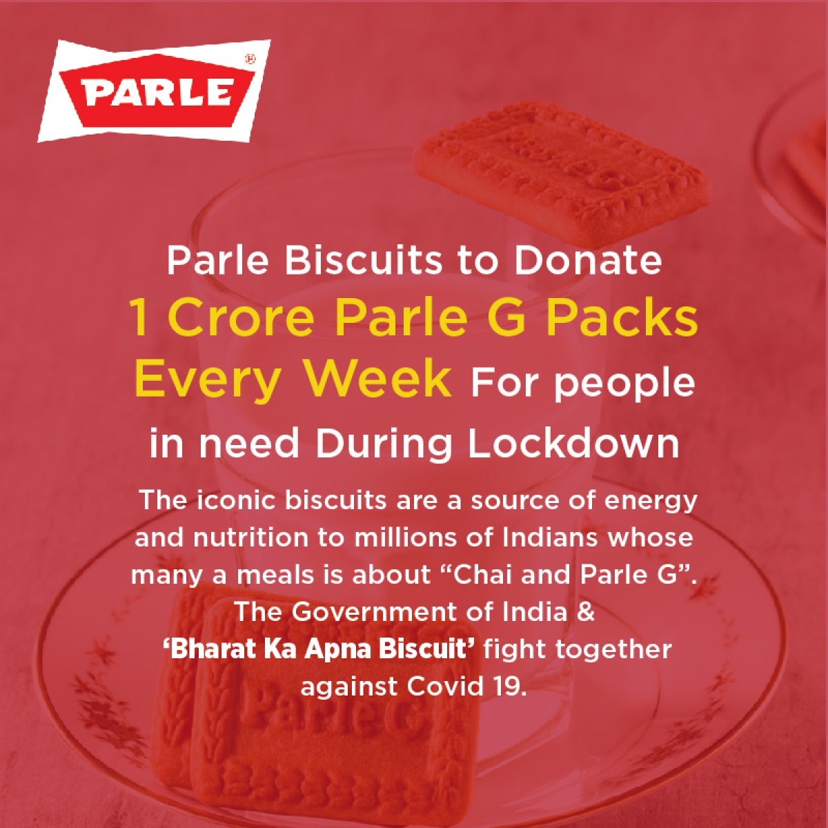 Parle Biscuits to donate one crore Parle G Packs every week