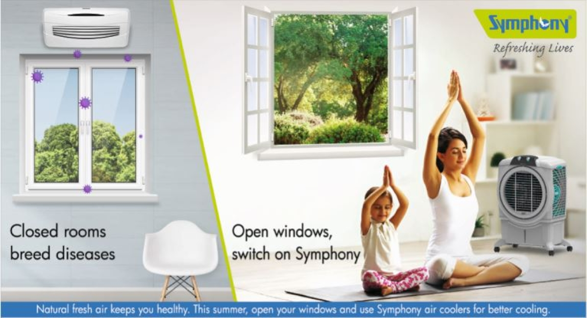 Symphony air cooler repositions AC segment in a well-timed ad