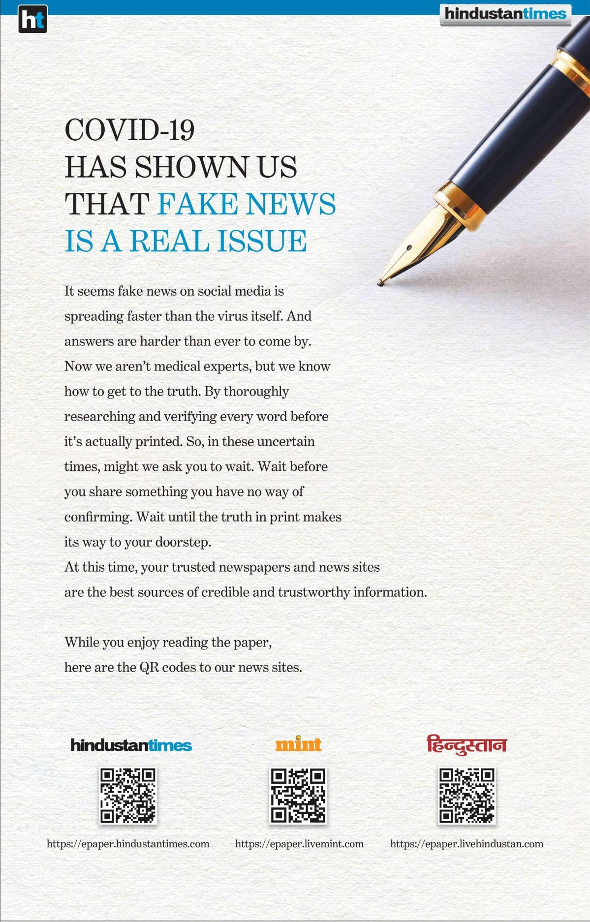 Hindustan Times' new ad takes the battle against fake news forward