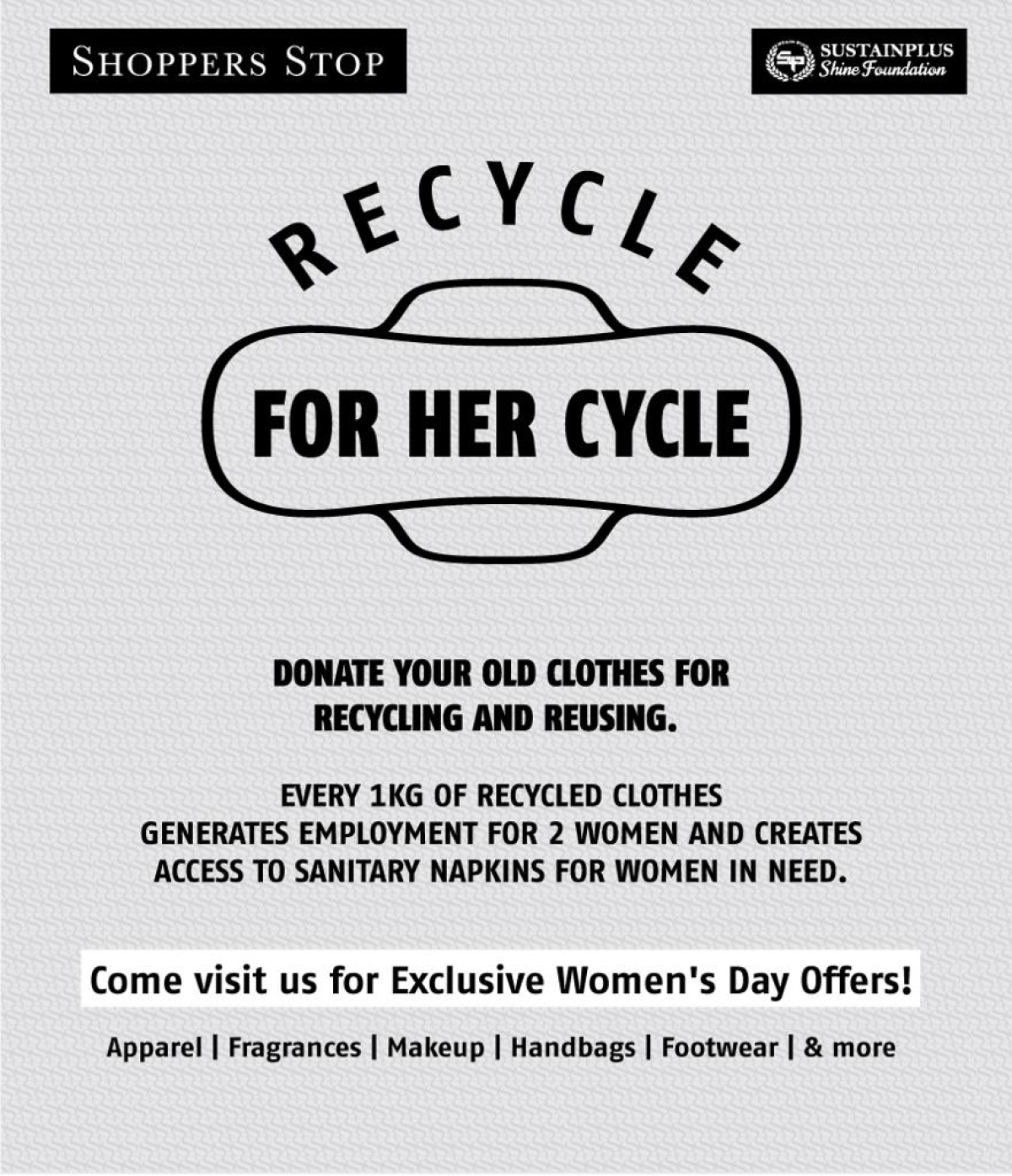 Shoppers Stop launches 'Recycle for her Cycle' program on Women's Day