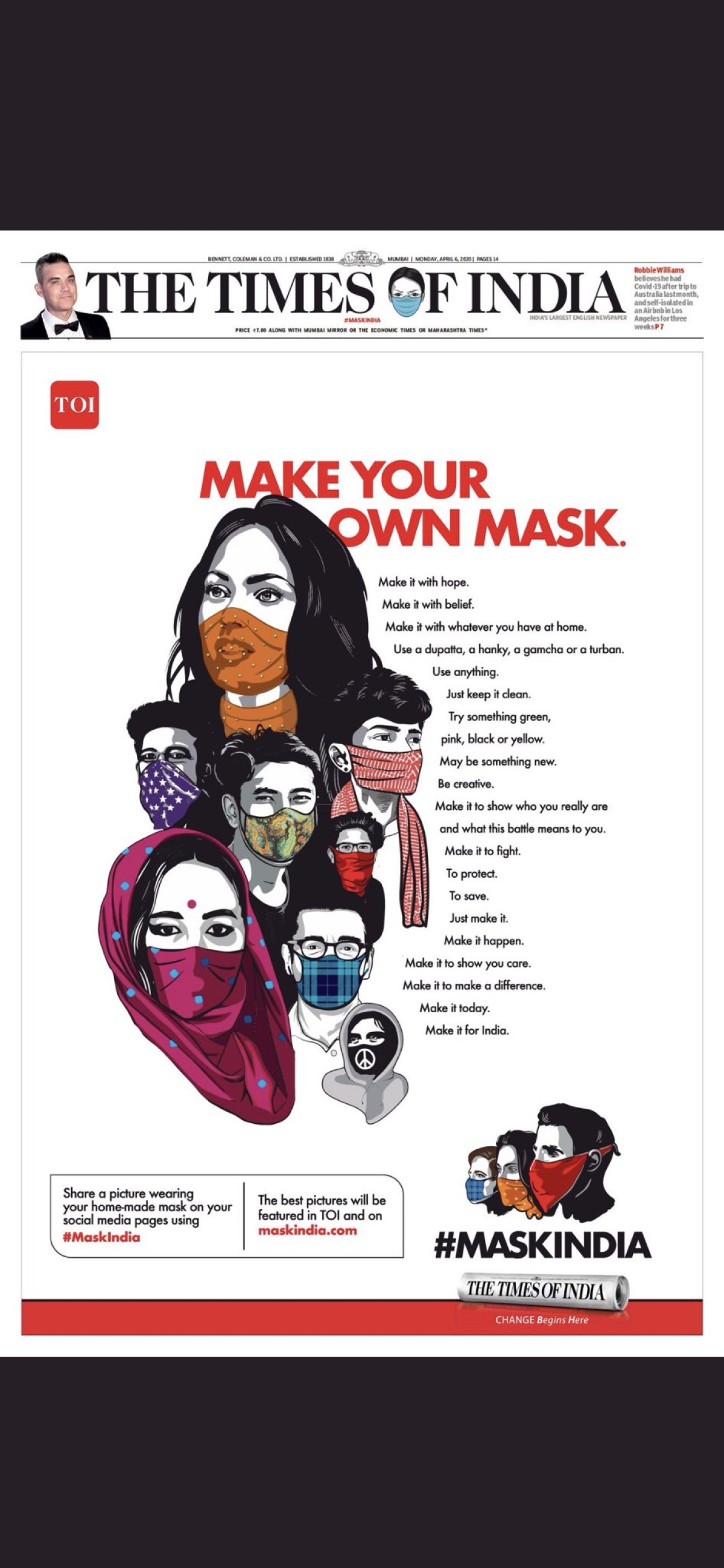 The Times of India encourages people to make their own face masks...