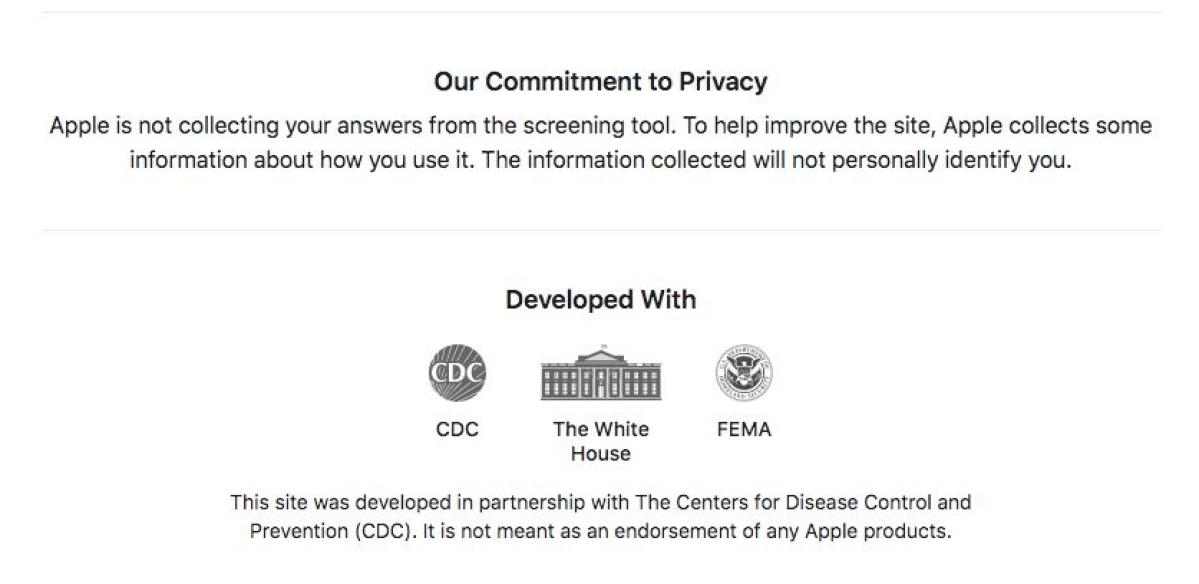 A screengrab from Apple's coronavirus microsite
