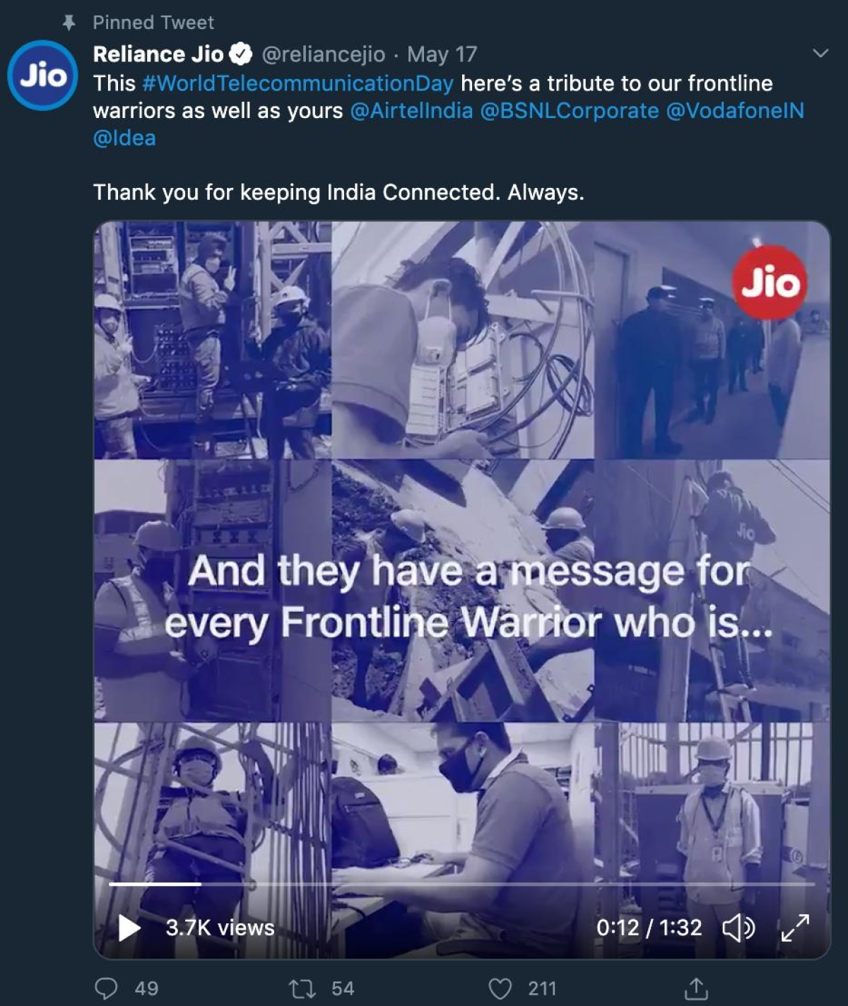 Jio Says Thank You to other telecom providers