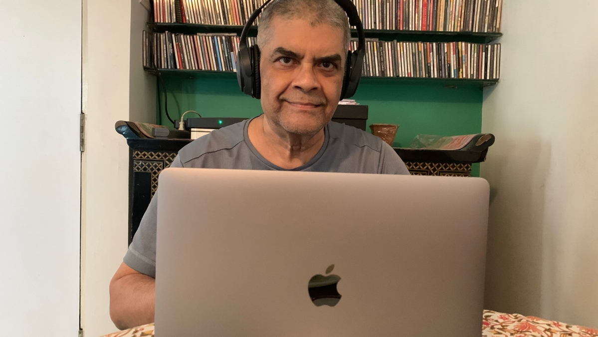 Mundkur busy fiddling with GarageBand