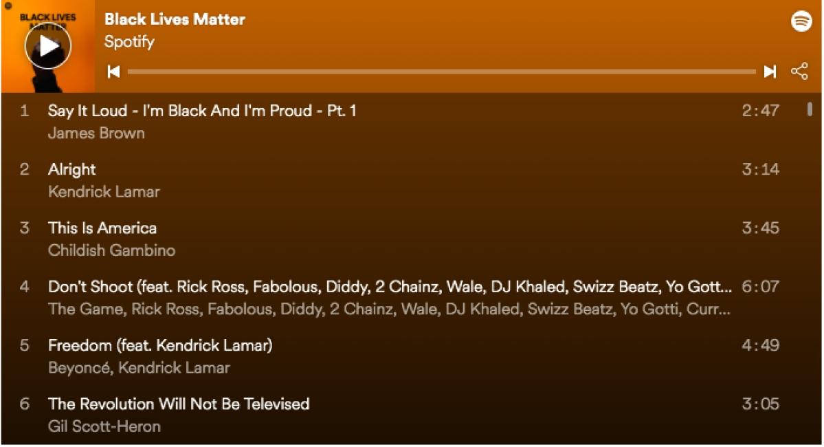 Spotify's Black Lives Matter playlist