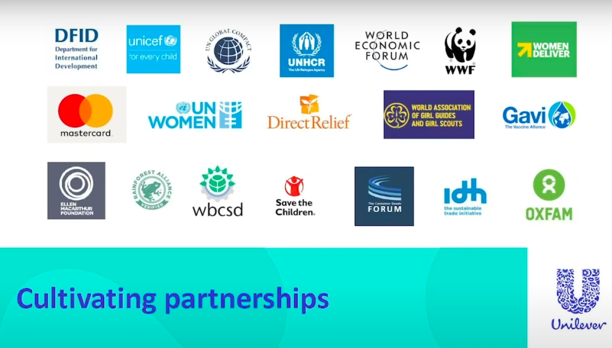 Some of the organisations Unilever has partnered with.